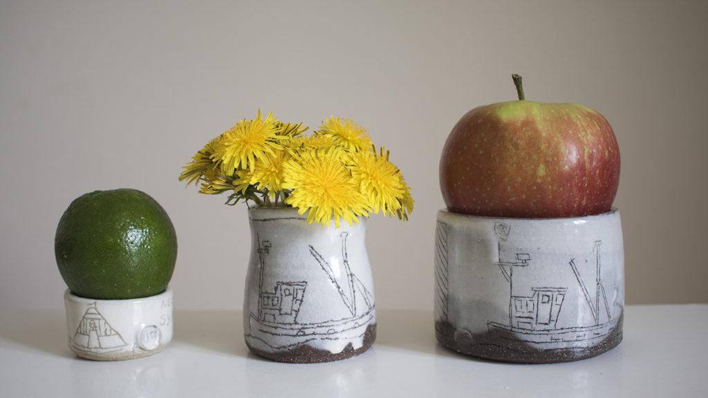 a progression of colour in pots