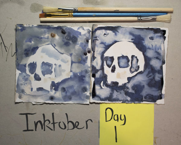 ink and bleach skulls