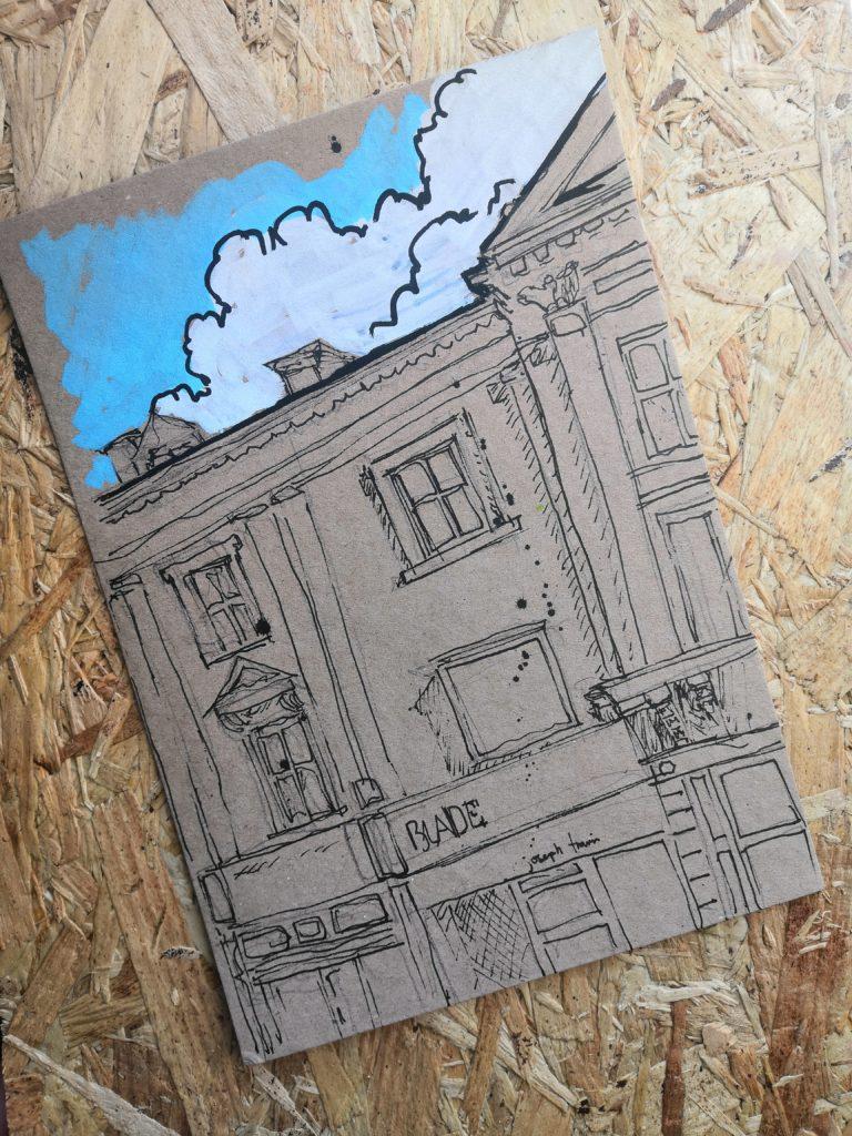 Drawing of Lancaster Road Preston on kraft card